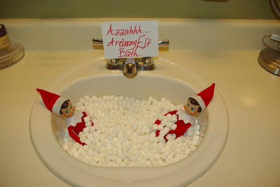 Day 11 make your own elf on the shelf julie 39 s journal for Elf on the shelf bathroom ideas